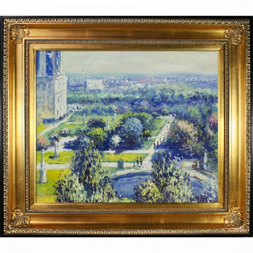 Wildon Home 'Les Tuileries, 1876, Musee Marmottan' Canvas Art by Claude Monet Impressionism in Regency Gold Frame