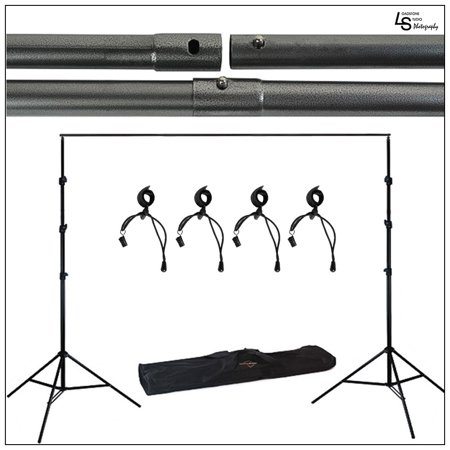 Photography Portable Background Support System Kit with Aluminum Stands and Four Adjustable Stretch Band by Loadstone Studio