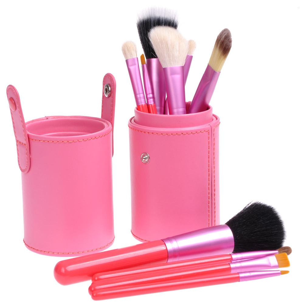 Pink Professional 12pcs Makeup Brush Set Cosmetic Tool Kit w/ PU Leather Holder