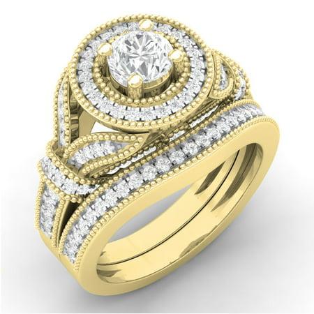 Dazzlingrock Collection 1.20 Carat (ctw) 14K Round Cut Diamond Bridal Halo Engagement Ring Set 1 1/4 CT, Yellow Gold, Size 7.5