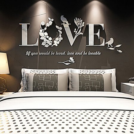 Stylish Removable 3D Leaf LOVE Wall Sticker Art Vinyl Decals Bedroom Decor](Cheap Wall Decals)
