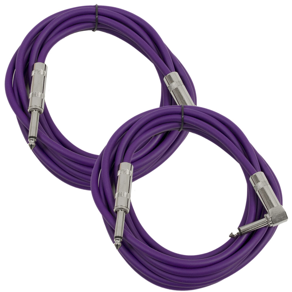 "Seismic Audio 2 Pack - 10' Purple Guitar Cable TS 1/4"" to Right Angle - Instrument Cord - SAGC10R-Purple-2Pack"