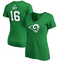 Jared Goff Los Angeles Rams NFL Pro Line by Fanatics Branded Women's St. Patrick's Day Icon Name & Number V-Neck T-Shirt