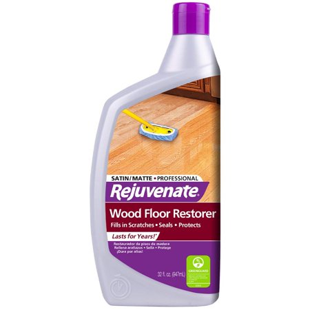 Rejuvenate Professional Wood Floor Restorer and Polish with Durable Finish Non-Toxic Easy Mop On Application Satin Finish 32oz Non Buff Floor Finish
