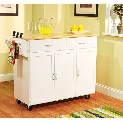 Extra Large Kitchen Cart, White with Wood Top