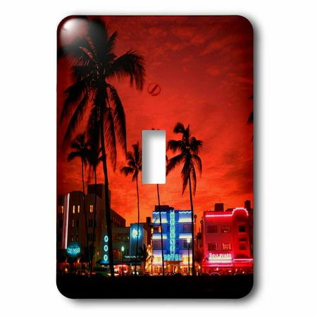 3dRose South Beach Sunset Night - Single Toggle Switch
