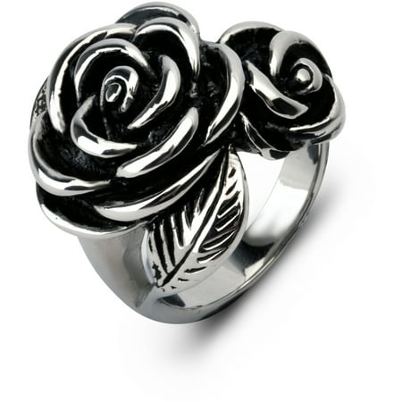 Stainless Steel Rose Ring, Size 8
