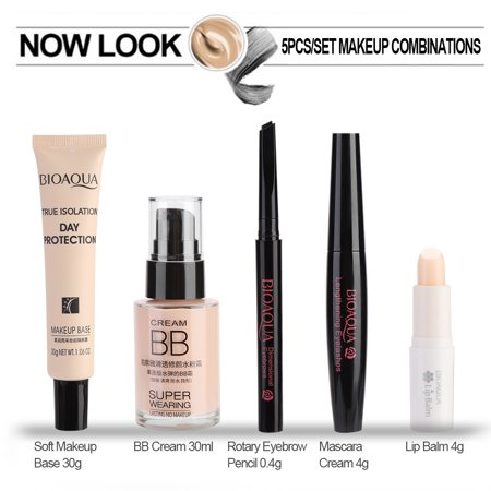 Hilitand BIOAQUA Cosmetic Makeup Set for Beginner Lip Balm BB Cream Eyebrow Pencil Mascara Makeup Base , Eyebrow Pencil, Mascara Cream