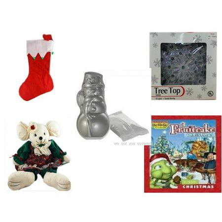 Holiday Fruitcake - Christmas Fun Gift Bundle [5 Piece] - Red Felt Stocking Green Balls 15