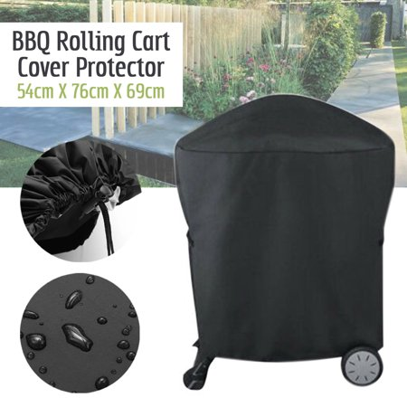 BBQ Grill Cover Patio Kettle Barbecue Grill Cover  Weatherproof Heavy Duty Outdoor Protector -Premium BBQ Cover with Reinforced Fade-Resistant Fabric&Nylon Cord Universal For Weber