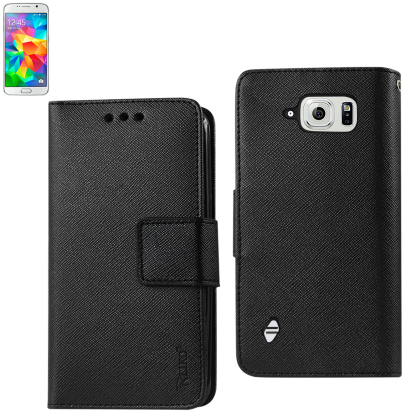 3 In 1 Wallet Case For Samsung Galaxy S6 Active With Interio Leather Polymer And Stand Function Black