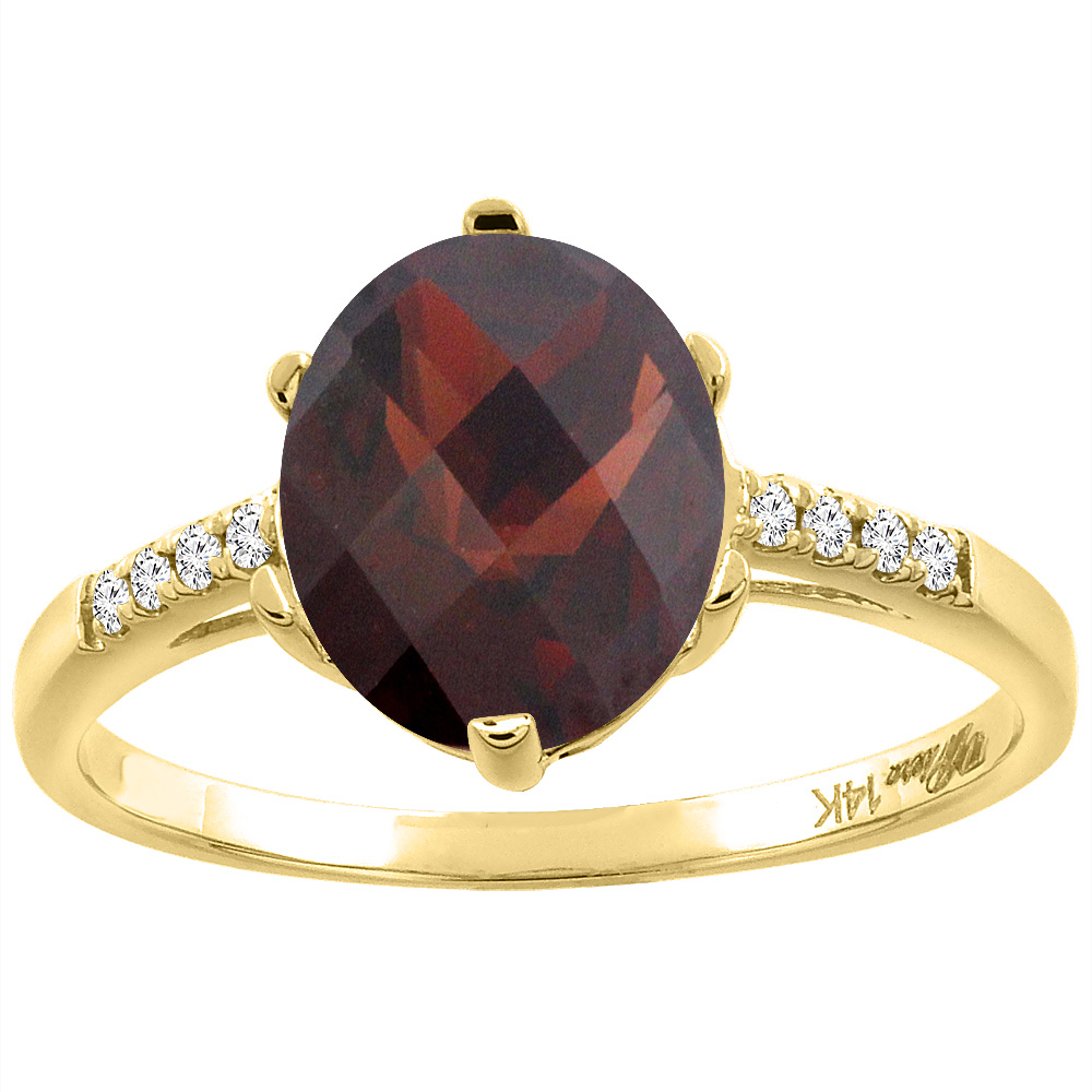 14K Yellow Gold Natural Garnet & Diamond Ring Oval 10x8 mm, size 5.5 by Gabriella Gold