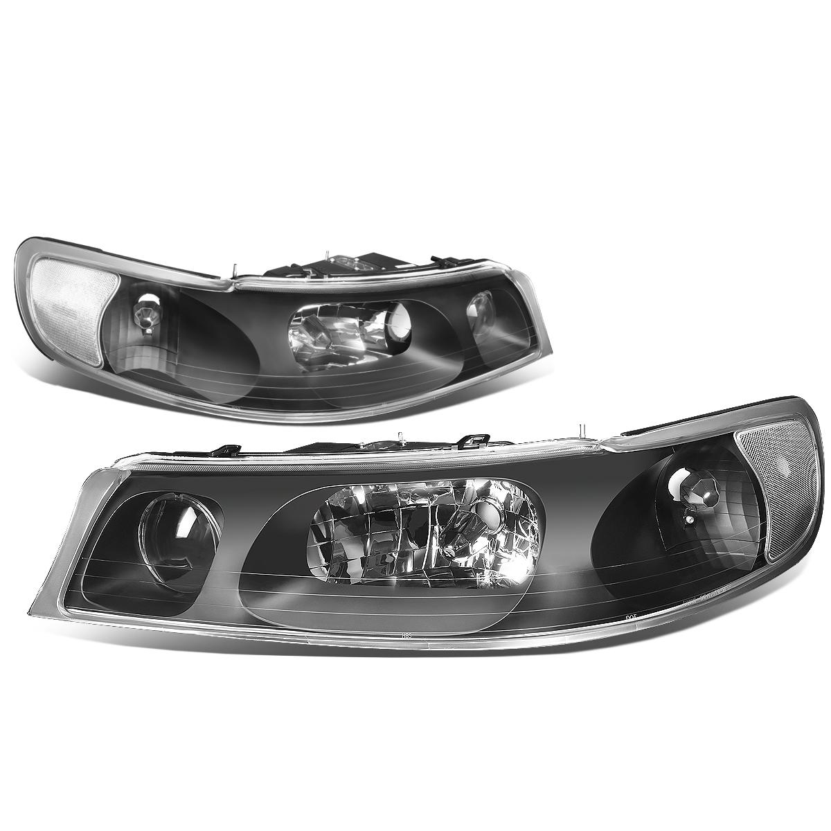 For 98 02 Lincoln Town Car Headlight Black Housing Clear Corner