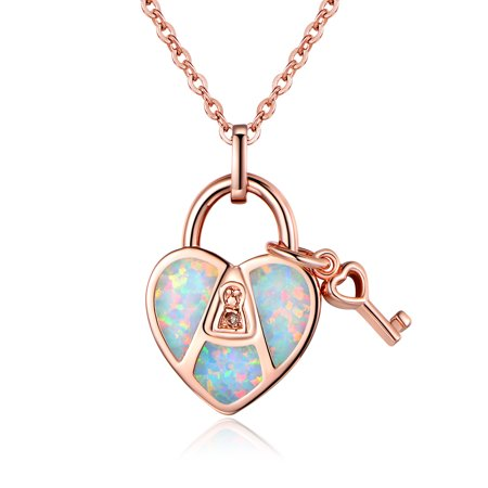 - Rose Gold Plated Diamond Accent & White Fire Opal Heart & Key Pendant Necklace