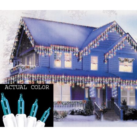Set of 100 Teal Mini Icicle Christmas Lights - White Wire ...