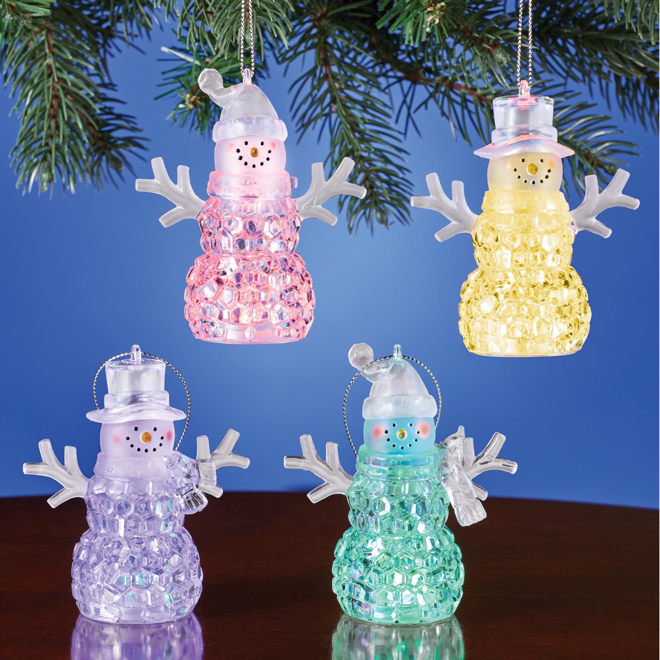 Led Snowmen Christmas Tree Ornaments Set Of 4 Collections Etc Walmart Com Walmart Com