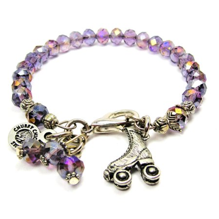Chubby Chico Charms Roller Skate Splash of Color Bracelet in Lavender Purple (Diamond Roller Skate Charm)