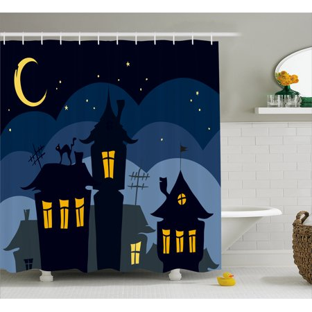 Halloween Shower Curtain, Old Town with Cat on the Roof Night Sky Moon and Stars Houses Cartoon Art, Fabric Bathroom Set with Hooks, 69W X 75L Inches Long, Black Yellow Blue, by Ambesonne