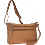 Soft Drum Dyed Leather 3 Zip Gusseted Crossbody Bag