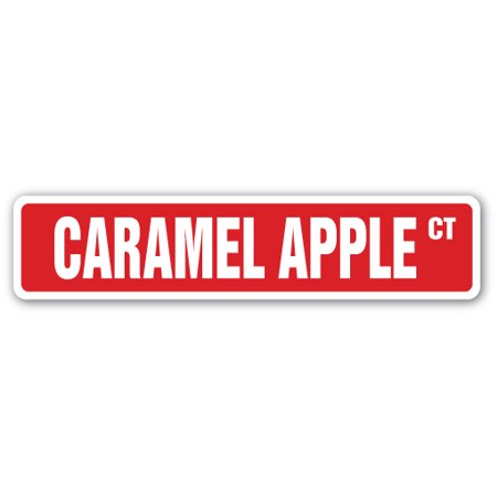 Halloween Caramel Apples (CARAMEL APPLE Street Sign taffy apples brown sugar fair | Indoor/Outdoor |  24