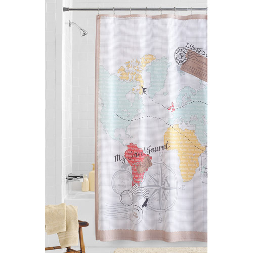 Mainstays World Traveler Fabric Shower Curtain