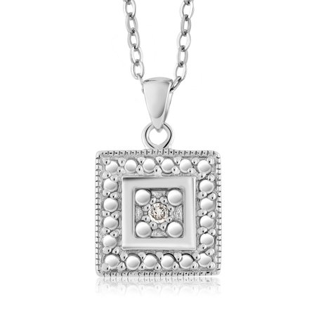 Gorgeous Round Diamond Square Pendant Necklace With 18 Inch Chain