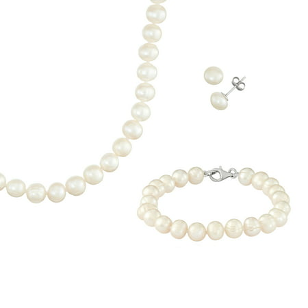 925 Sterling Silver Necklace, Earring and Bracelet Freshwater Pearl Jewelry (Gorgeous Pearl Set)