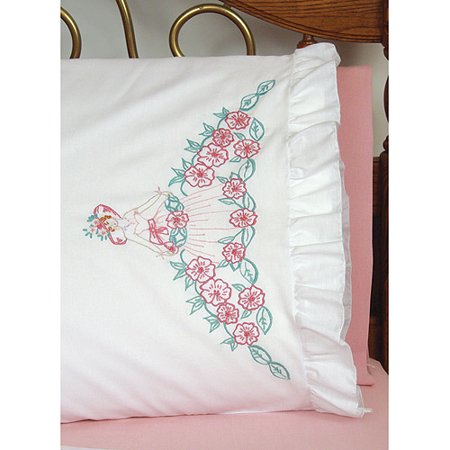 Lace Edge Pillowcases - Fairway Needlecraft Flower Lady Stamped Lace Edge Pillowcase Pair, 30