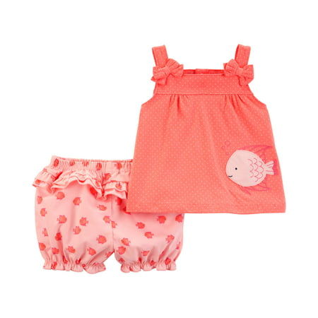 Tank Top and Shorts Outfit, 2 piece set (Baby Girls) Babys 1st Christmas Outfit
