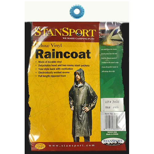 Stansport Men's Vinyl Raincoat with Hood, Smoke