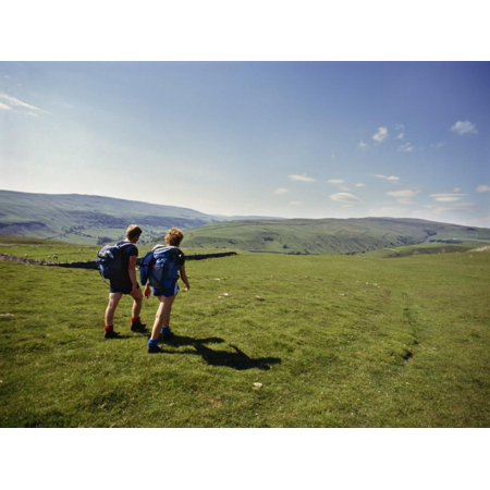 Couple Walking on the Dalesway Long Distance Footpath, Near Kettlewell, Yorkshire Print Wall Art By Nigel
