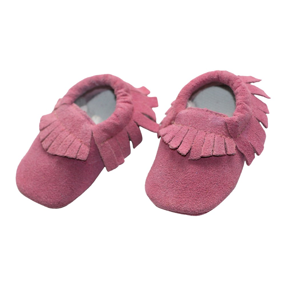 Baby Girls Light Pink Fringe Detail Suede Moccasins 3-18M