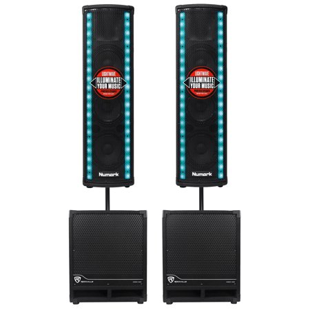 2  Numark Lightwave Led Active Dj Speakers Lights  2  Rockville 12  Subs Poles