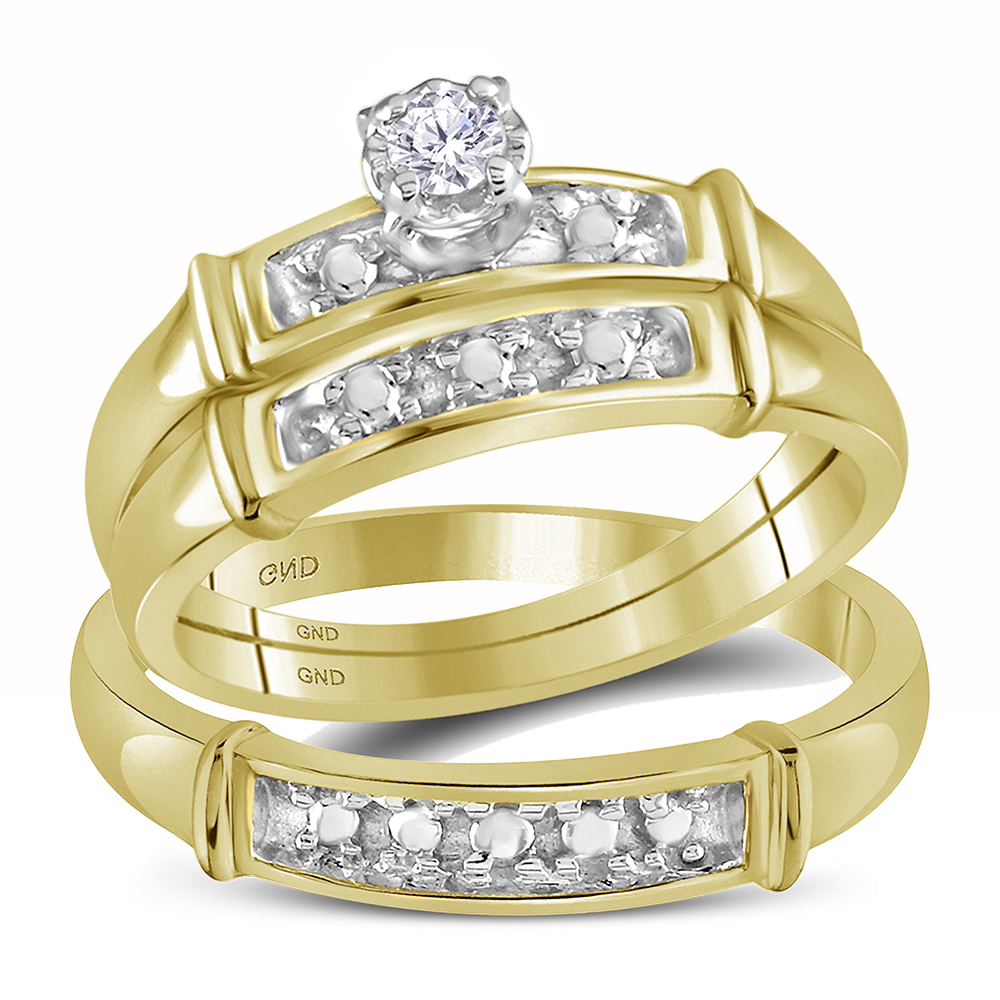 14kt Yellow Gold His & Hers Round Diamond Solitaire Matching Bridal Wedding Ring Band Set (.10 cttw.) by Mia Diamonds