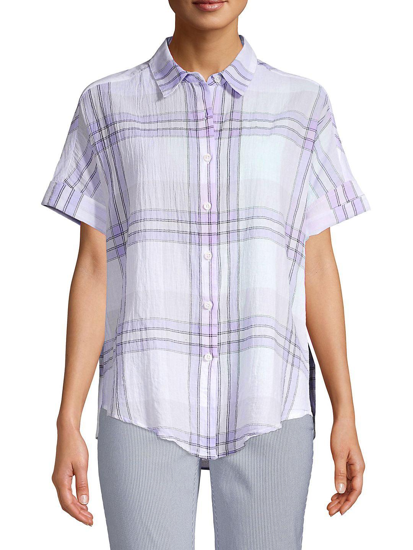Petite Plaid Short Sleeve Button-Down Tie-Front Blouse