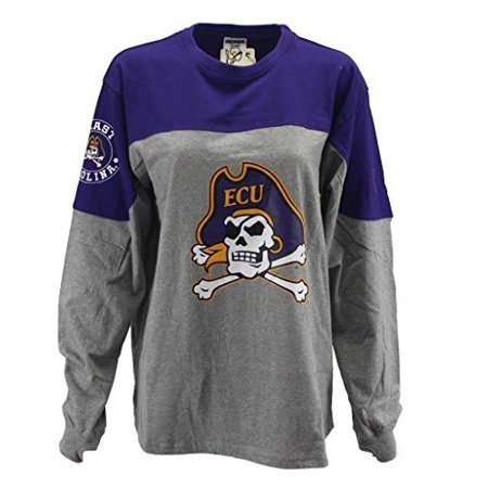 Pressbox Women' s NCAA ECU East Carolina Pirates Varsity Jersey Oversized Sweeper Shirt (Woman Pirate Shirt)
