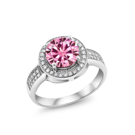 925 Sterling Silver Ring Round Pink Created Moissanite  1.90ct DEW