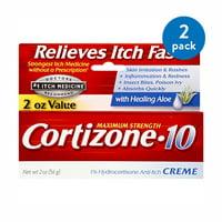 (2 Pack) Cortizone 10 Maximum Strength 1% Hydrocortisone Anti-Itch Creme2 oz