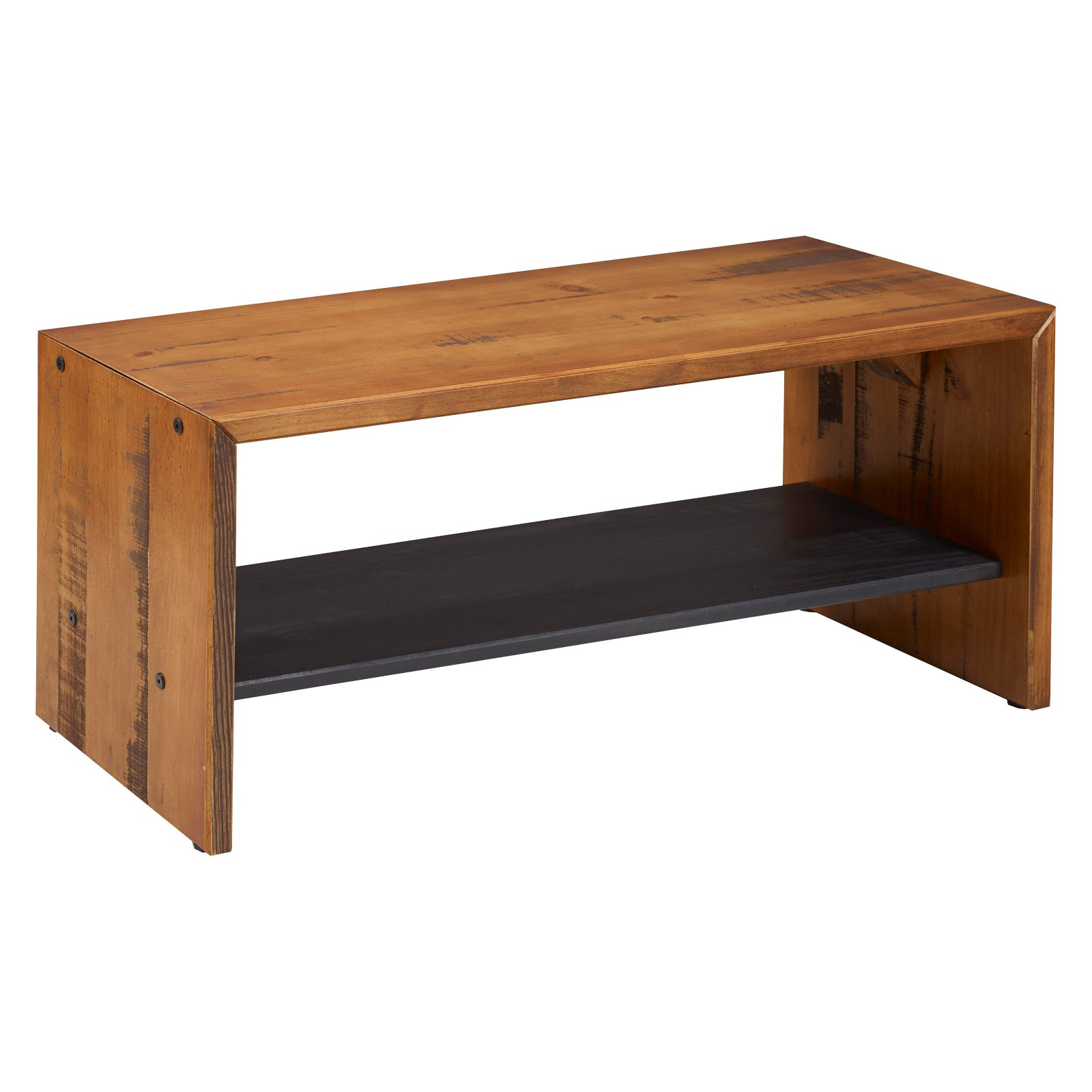 Walker Edison Rustic Reclaimed Wood Entry Bench with Shelf