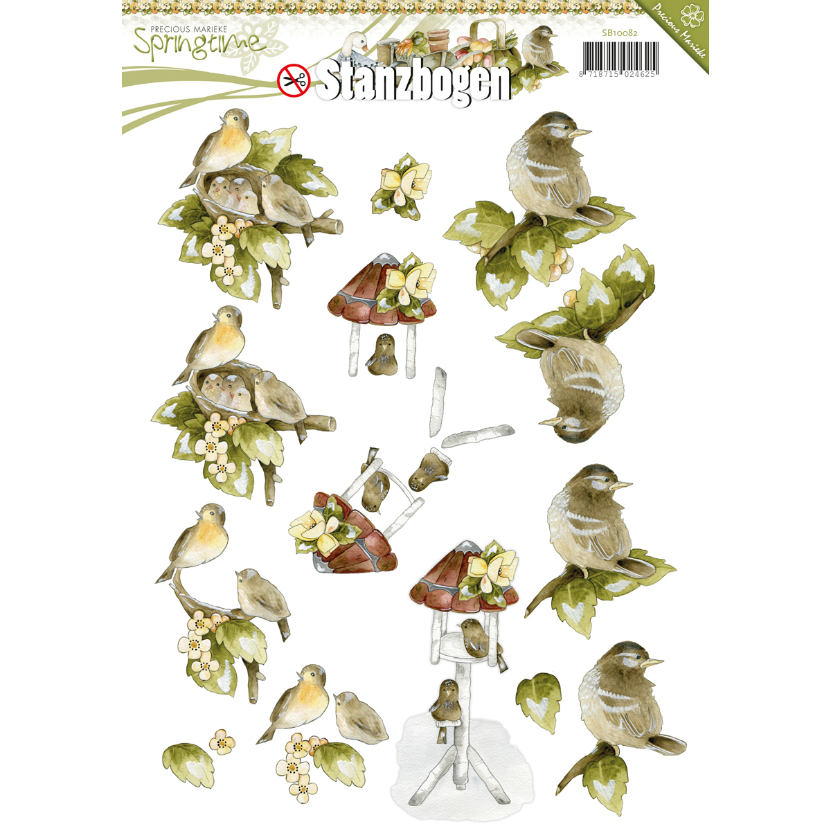 Find It Precious Marieke Springtime Punchout Sheet-Bird Nest, Birdhouse & Bird Branch