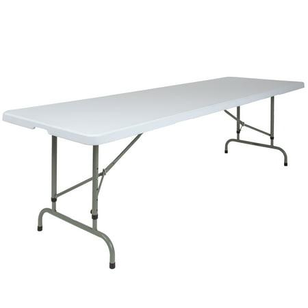 Flash Furniture 8-Foot Height Adjustable Granite White Plastic Folding Table