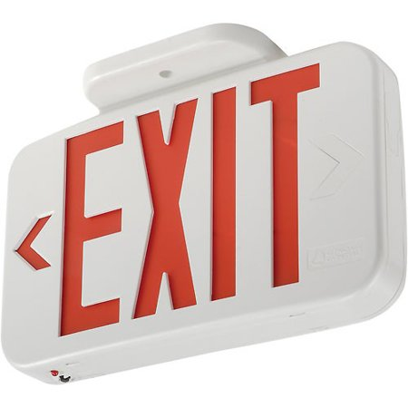 - Lithonia EXR LED EL M6 Red LED Exit Sign with Battery Back-Up, Lot of 1