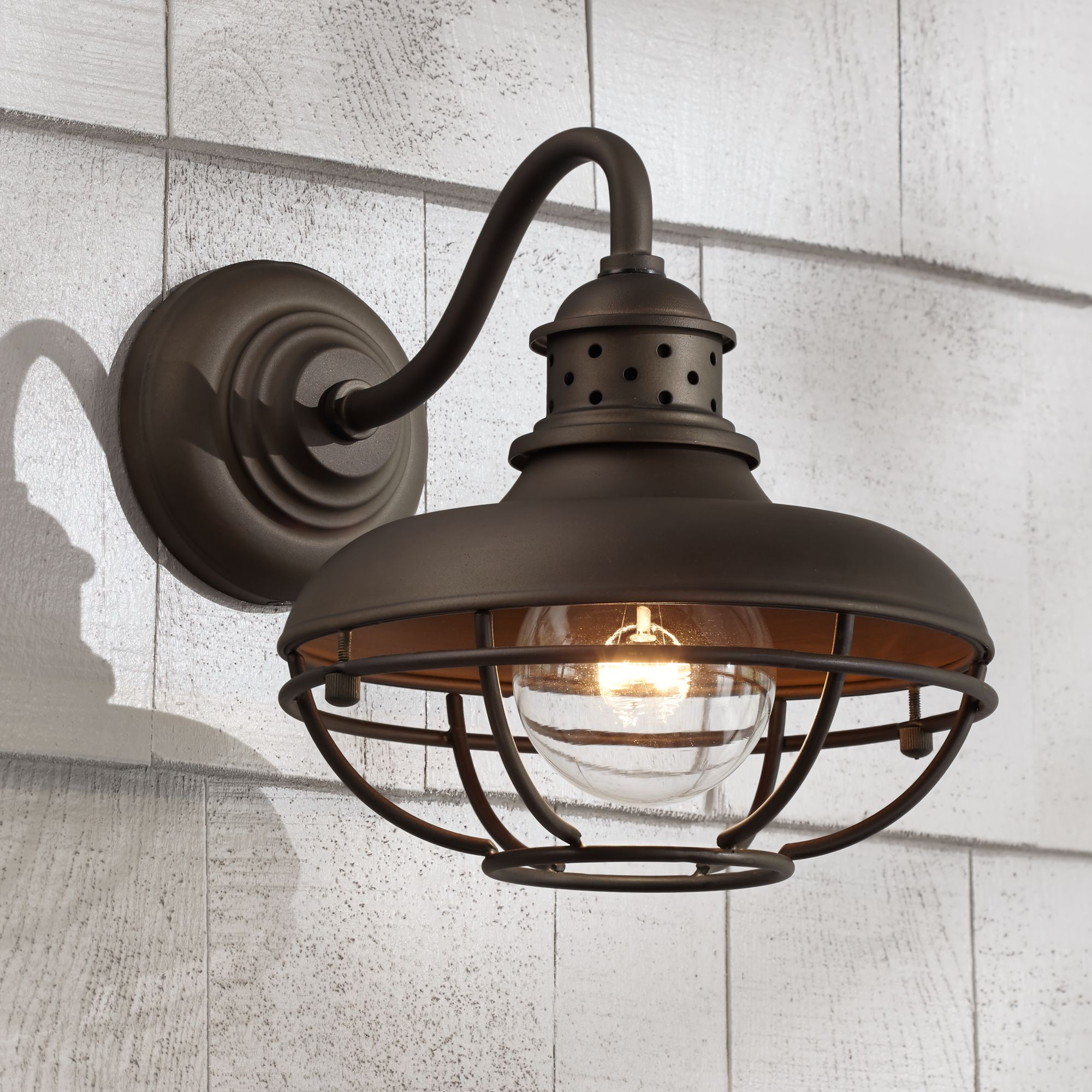 """Franklin Iron Works Franklin Park 9"""" High Bronze Metal Cage Outdoor Wall Light"""