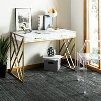 Safavieh Elaine 1 Drawer Glam Desk, White/Gold