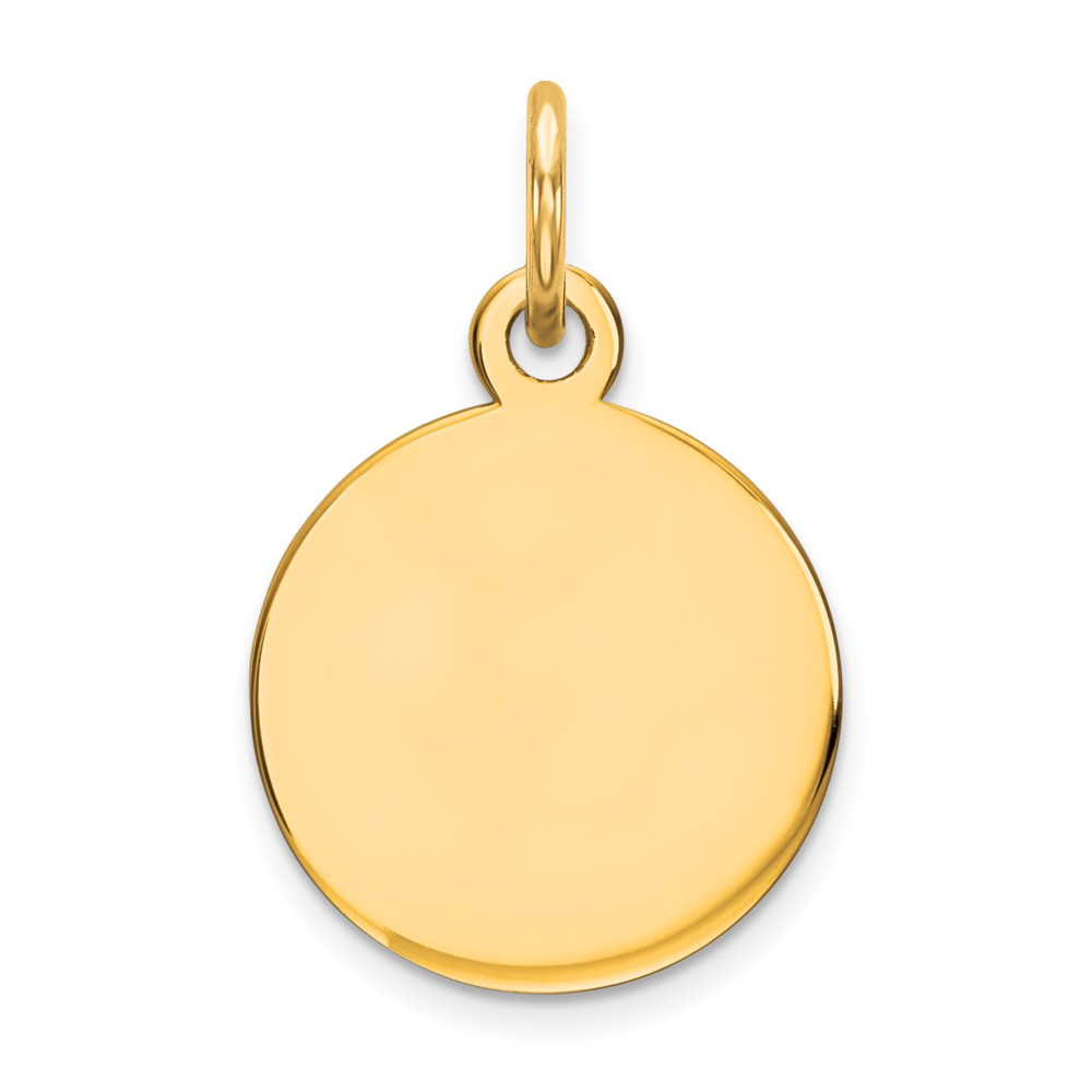 14k Yellow Gold Round Disc Charm (0.7in long x 0.4in wide)