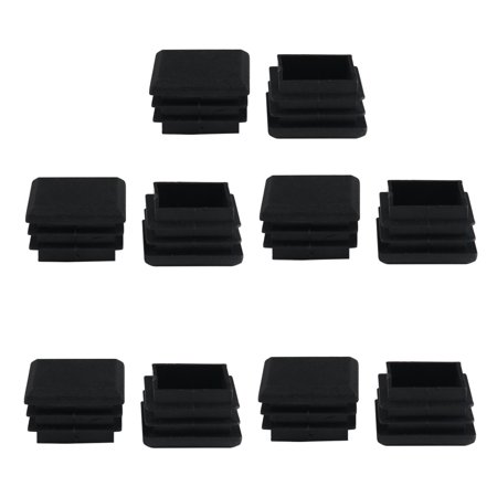 10pcs 25 x 25mm Plastic Square Tube Inserts Cover Black Shelves Leg (25 Mm Square Bezel)