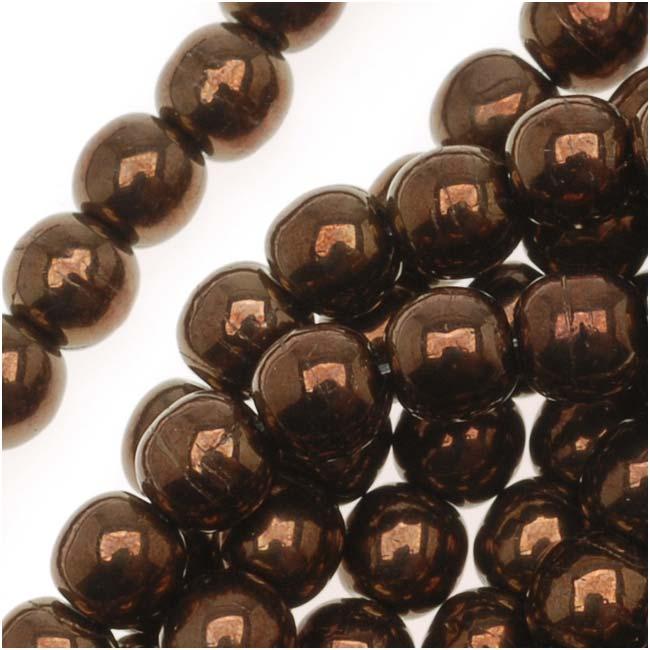 Czech Glass Druk Round Beads 4mm Dark Bronze (100)