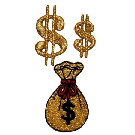 ID 0076ABC Set of 3 Money Sign Bag Patch Gold DIY Embroidered Iron On Applique - Mommy Patch Products