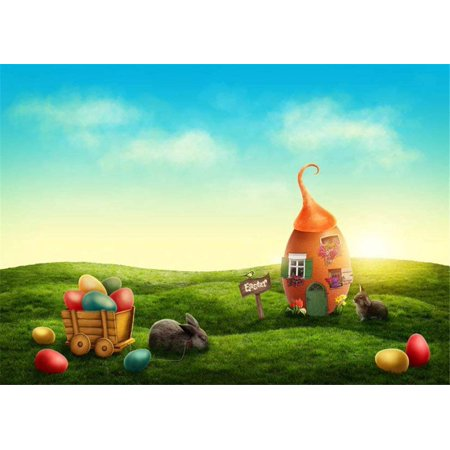 ABPHOTO Polyester Happy Easter Fairyland Baby Kids Photography Backdrops Eggs Rabbits Big Egg House Green Grassland Spring Photo Background (7x5ft)