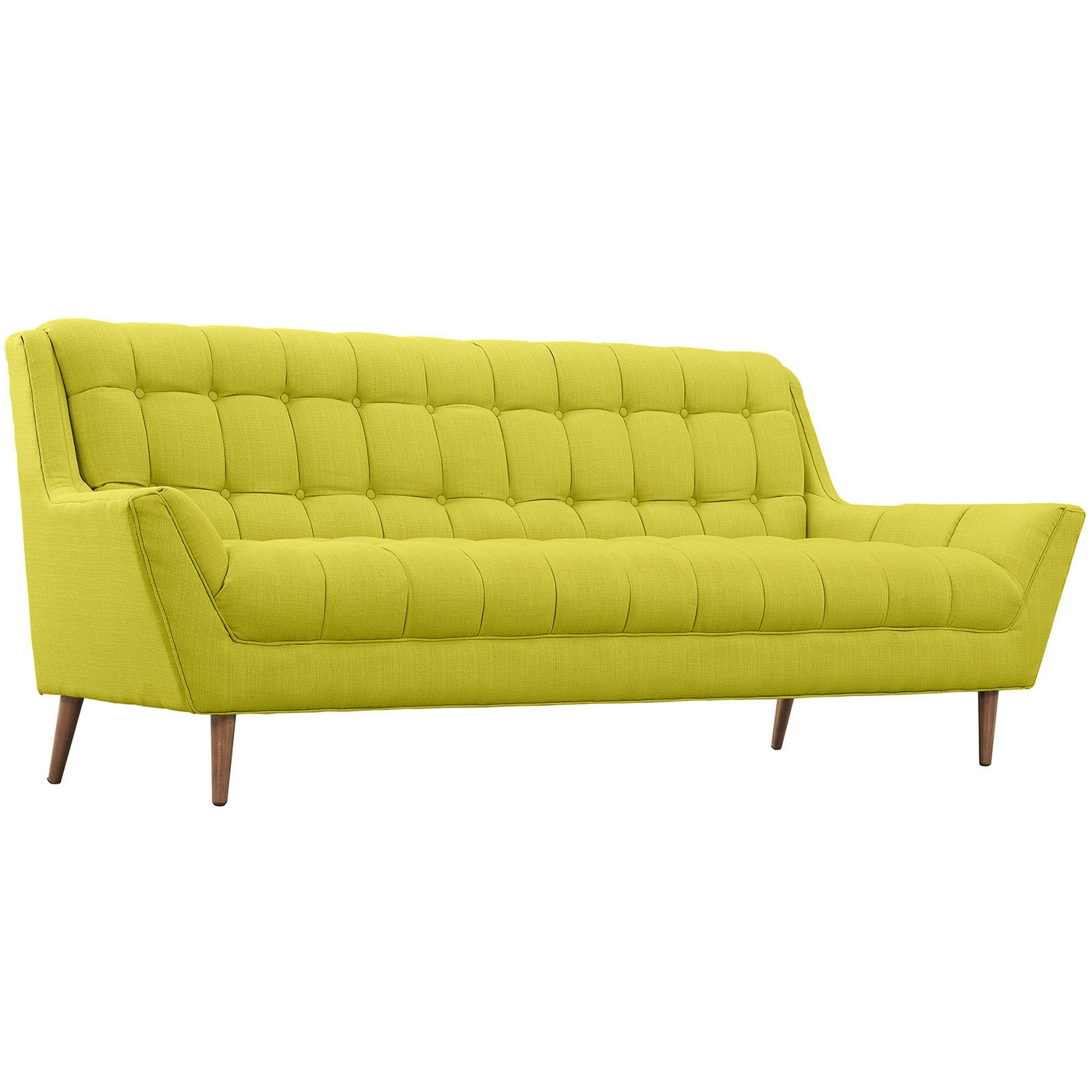 Mid-Century Modern Response Contemporary Button-Tufted Sofa - Wheat Grass  Green